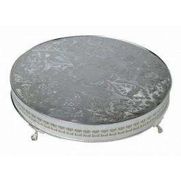 "Silver Plated Round Cake Stand 17.5"" image"