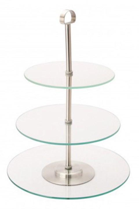 3 Tier Glass Cake Stand image