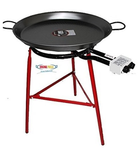 Paella Cooking Set with 70cm Polished Steel Paella Pan, Gas Burner, Legs and Skimming Spoon image